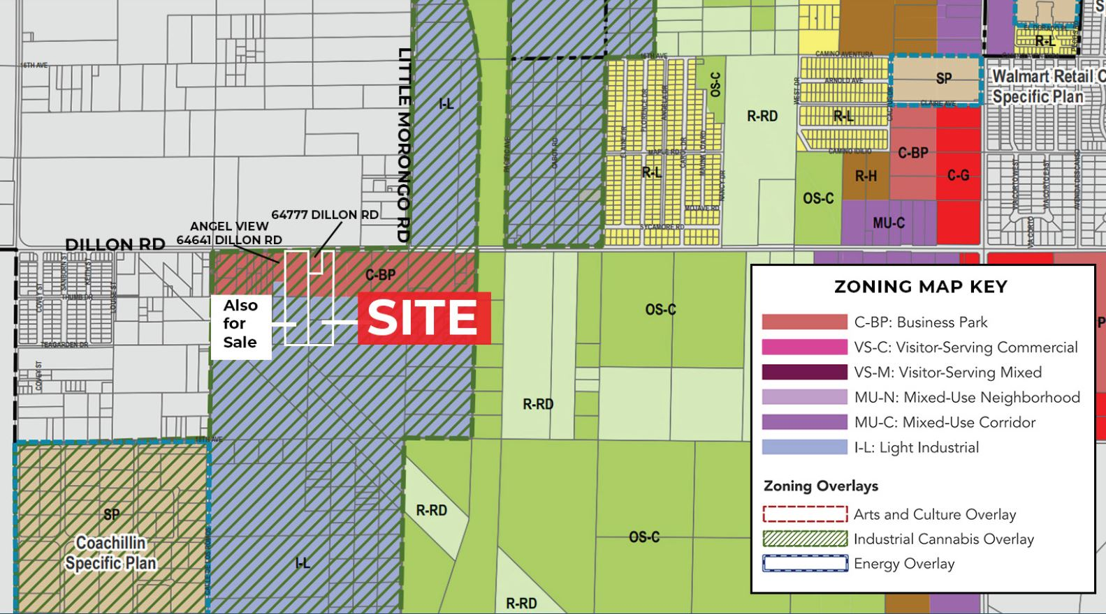 zoning map of 8.5 acres industrial land for sale at dillon road desert hot springs california