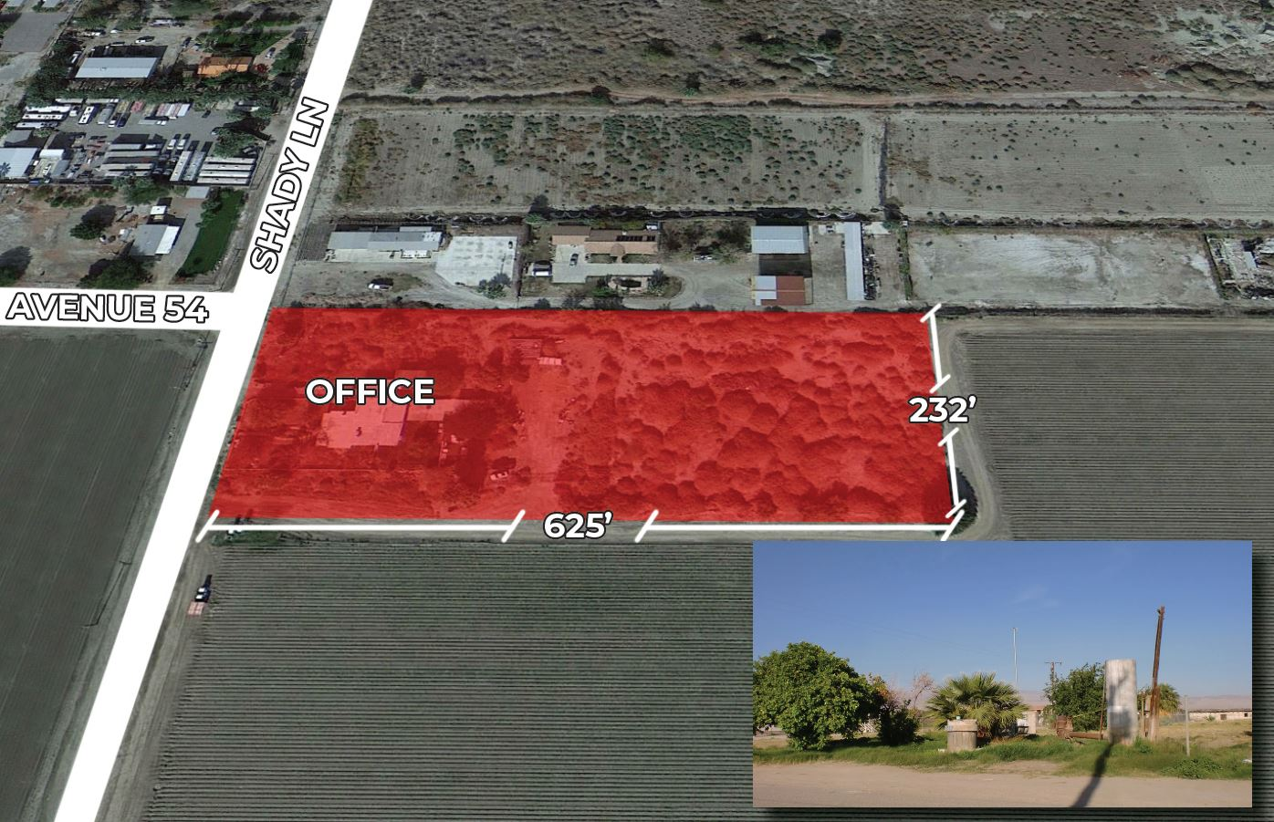 site aerial of 2100 sf office on 3.35 acres at thermal california