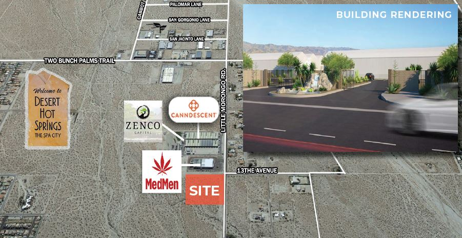 aerial map of land for sale in east little morongo road and north 13th avenue desert hot springs