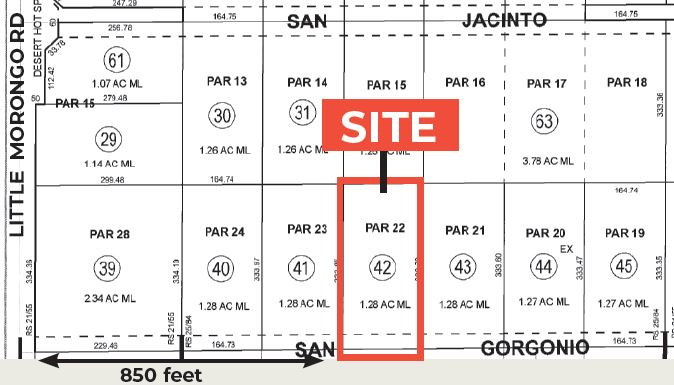 plat map of 1.26 ac land for sale at north san gorgonio desert hot springs california