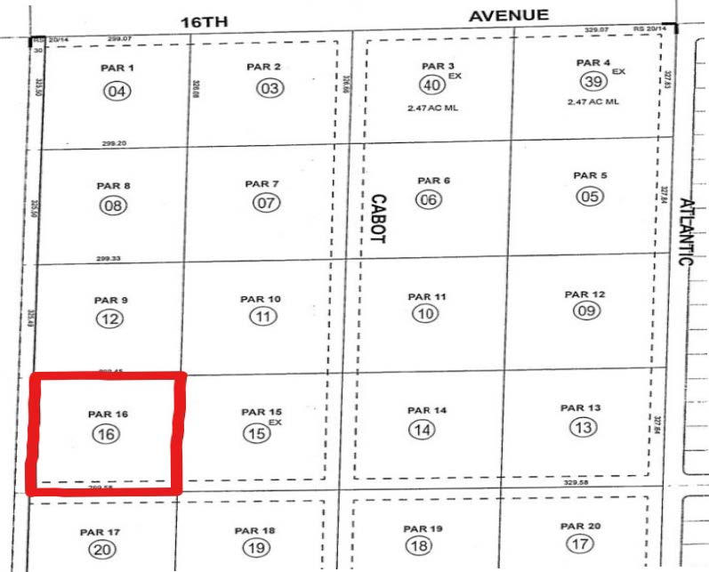 parcel map of 2.24 acres industrial land for sale at Desert Hot Springs California