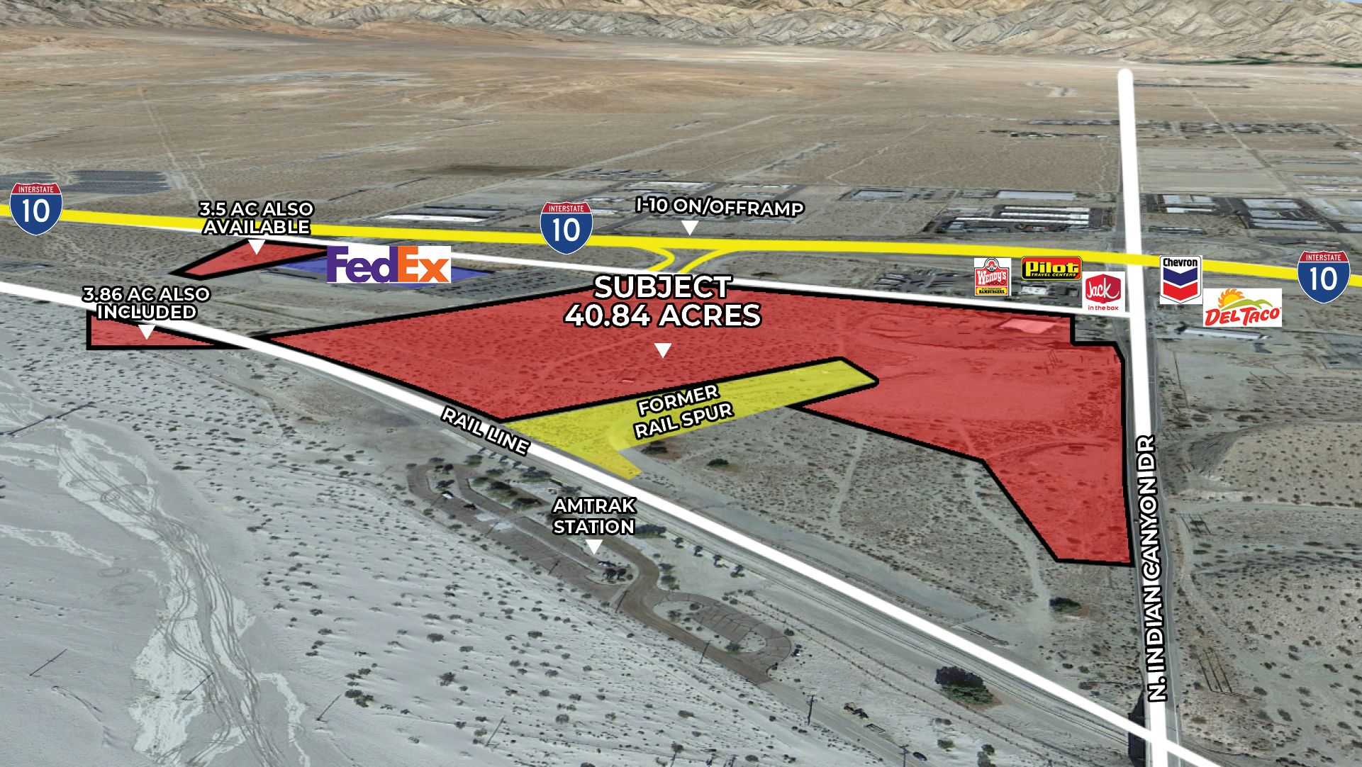 40.84 AC Indian Canyon Dr Zoomed Aerial